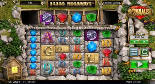Bonanza Megaways Review Slots A gemstone themed main game board featuring five reels and 34300 ways to win with a $25,000 max payout