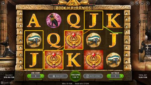 Book of Pyramids Review Slots Scatter win triggers the free spins feature