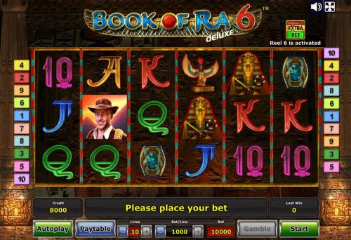 Book of Ra Deluxe 6 Review Slots Main game board featuring five reels and 10 paylines with a $7,500,000 max payout