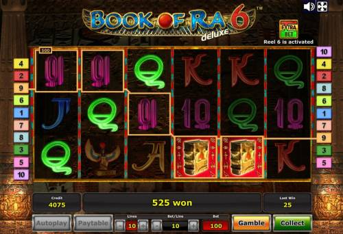 Book of Ra Deluxe 6 Review Slots Multiple winning paylines triggers a 525 coin big win!