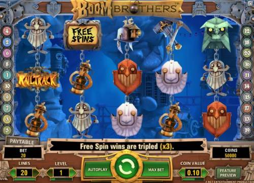 Boom Brothers Review Slots main agme board featuring five reels and twenty paylines. free spin wins are tripled