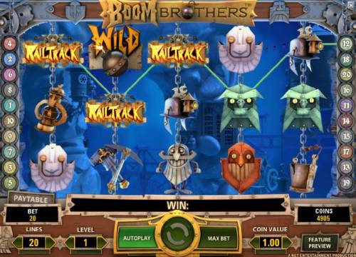 Boom Brothers Review Slots three ralitrack symbols triggers the start of the bonus feature