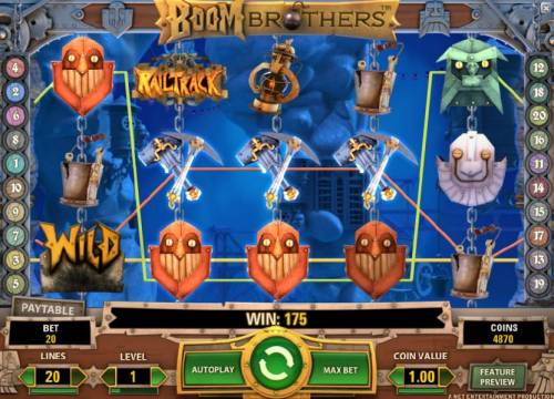 Boom Brothers Review Slots 175 coin jackpot triggered by multiple winning paylines