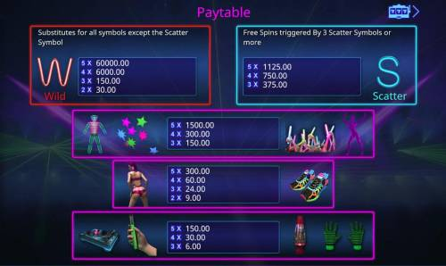 Booming Glow Review Slots Paytable
