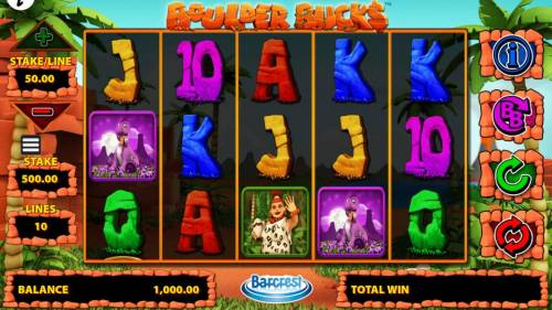 Boulder Bucks Review Slots Main game board featuring five reels and 10 paylines with a $250,000 max payout