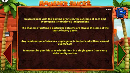Boulder Bucks Review Slots Any combinatio of wins in a single game is limited and will not exceed 250,000.00