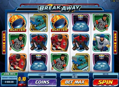 Break Away Review Slots Main game board featuring five reels and 243 ways to win with a $1,000,000 max payout