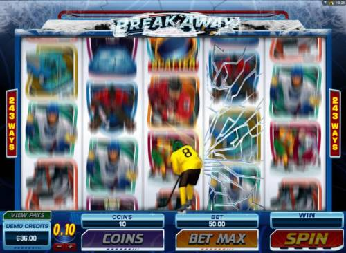 Break Away Review Slots Smashing Wild Feature triggered. Hockey player appears and can change reels 3, 4 and 5 into stacked wilds.