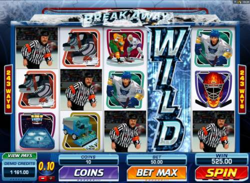 Break Away Review Slots Smashing Wild Feature triggers a Five of a Kind and a 525.00 line pay.