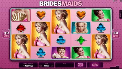 Bridesmaids Review Slots Main game board featuring five reels and 40 paylines with a $525,000 max payout