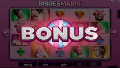 Bridesmaids Review Slots Wheel Bonus triggered by three or more cupcake scatter symbols