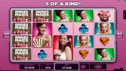 Bridesmaids Review Slots Stacked wilds on reel 1 lead to multiple winning paylines and a $3,712.50 big win!