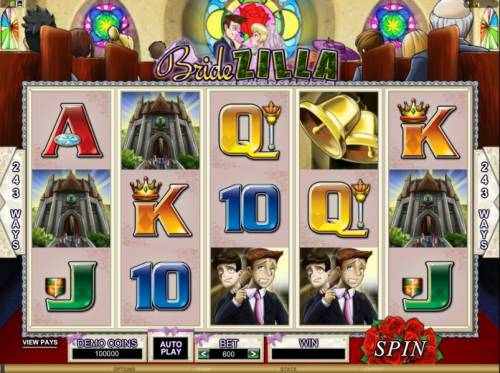Bridezilla Review Slots main game board featuring 5 reels and 243 ways