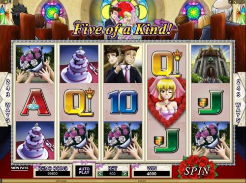 Bridezilla Review Slots here is an example of a five of a kind triggering a 4000 coin jackpot