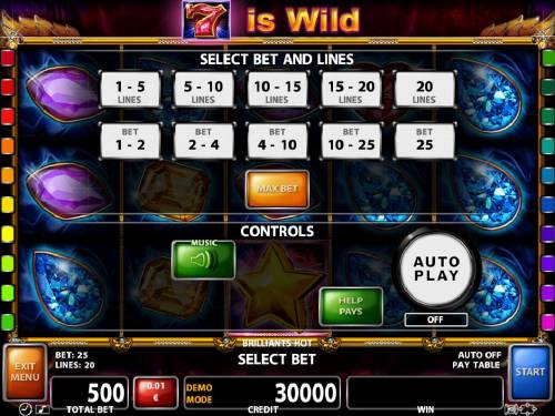 Brilliants Hot Review Slots Select Bet and Lines - 1 to 20 Lines and 1 to 25 coins per line.