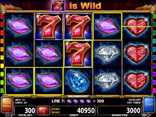 Brilliants Hot Review Slots A trio of wild seven symbols make this 3000 coin jackpot award possible.