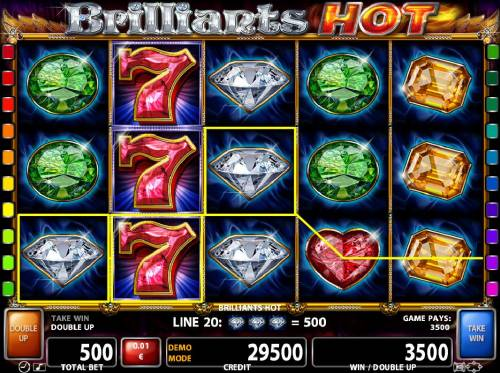 Brilliants Hot Review Slots Stacked wild sevens on reel 2 trigger multiple winning Diamond paylines leading to a 3500 coin win.