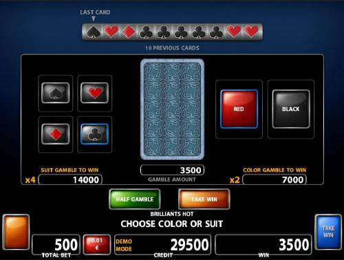 Brilliants Hot Review Slots Double Up gamble feature is available after every winning spin. Select the correct color or suit for a chance to double your winnings.