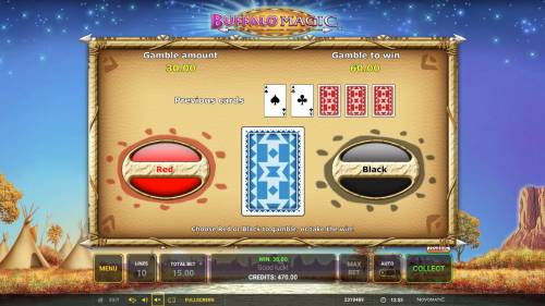 Buffalo Magic Review Slots Red or Black Gamble feature