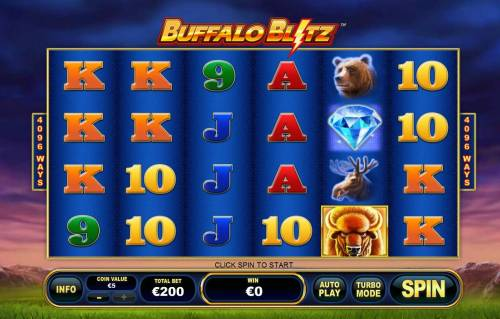 Buffalo Blitz Review Slots Main game board featuring six reels and 4096 winnng combinations with a $1,500 max payout