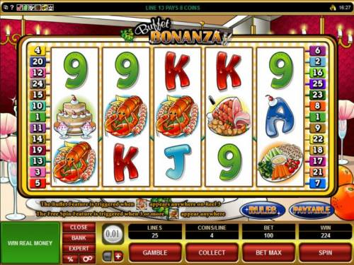Buffet Bonanza Review Slots 224 coin jackpot triggered by multiple winning paylines