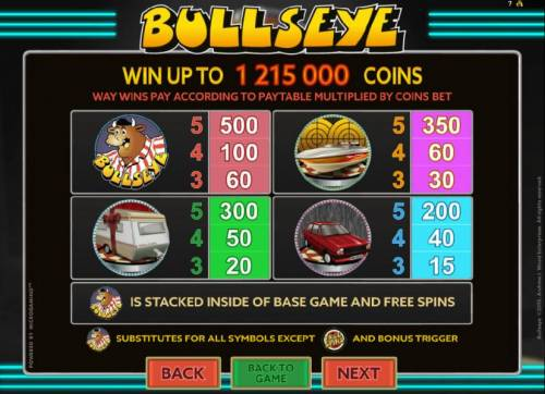 Bullseye Review Slots High value slot game symbols paytable - Win up to 1,215,000 coins.