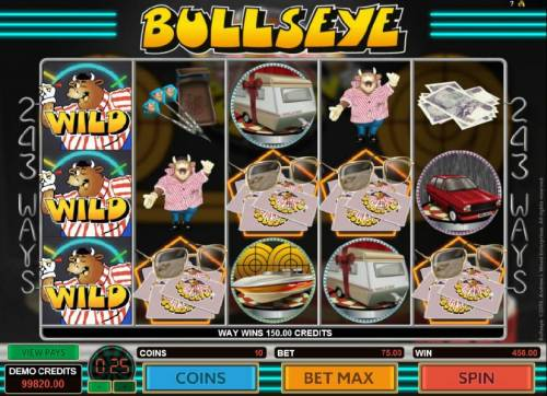 Bullseye Review Slots Stacked wilds on reel 1 trigger multiple winning combinations