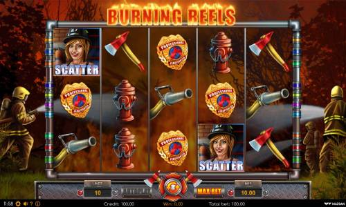 Burning Reels Review Slots Main game board featuring five reels and 10 paylines with a $40,000 max payout.