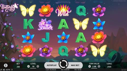 Butterfly Staxx Review Slots Main game board featuring five reels and 40 paylines with a $1,200 max payout.
