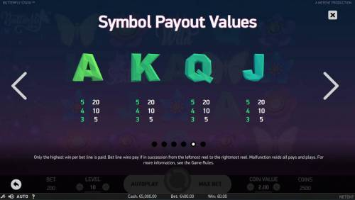 Butterfly Staxx Review Slots Low value Symbol Payout Values.