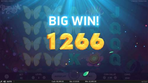 Butterfly Staxx Review Slots re-spin feature pays out a 1266 coin prize.