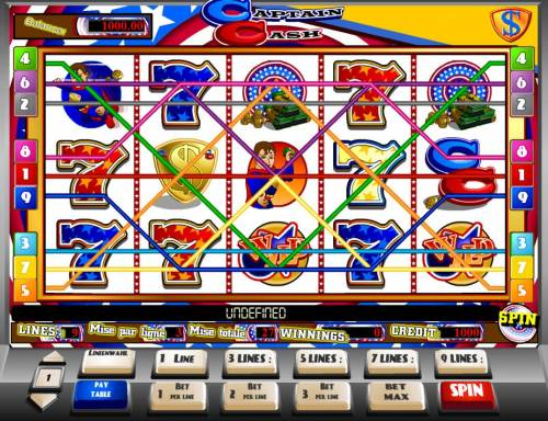 Captain Cash Review Slots A superhero themed main game board featuring five reels and 9 paylines with a $15,000 max payout.