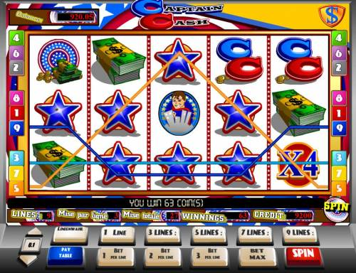 Captain Cash Review Slots Multiple winning paylines triggers a 63 coin big win!