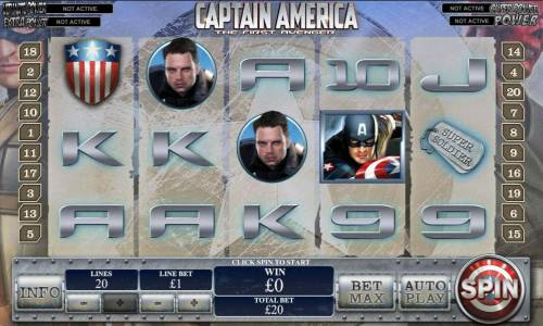 Captain America The First Avenger Review Slots main game board featuring five reels, twenty paylines and four progressive jackpots