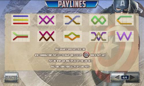 Captain America The First Avenger Review Slots payline diagrams