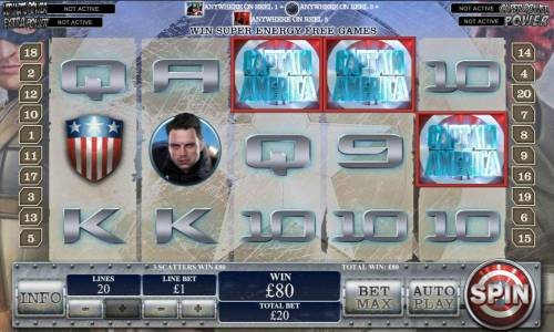 Captain America The First Avenger Review Slots three of a kind triggers 80 coin jackpot