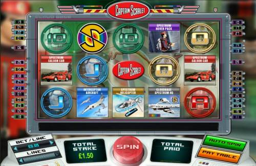 Captain Scarlet Review Slots main game board featuring five reels and thirty paylines