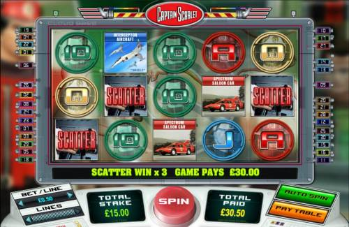 Captain Scarlet Review Slots three scatter symbols triggers a $30 jackpot