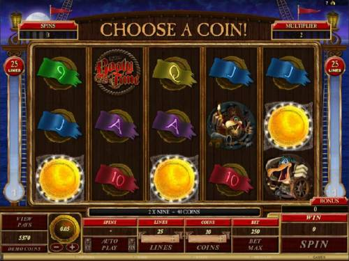 Captain Squawks Booty Time Review Slots choose a coin to determine your prize award