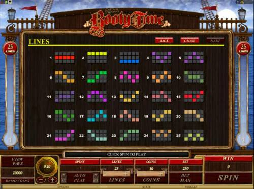 Captain Squawks Booty Time Review Slots game has 25 payline configurations