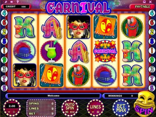 Carnival Review Slots main game board featuring five reels and nine paylines