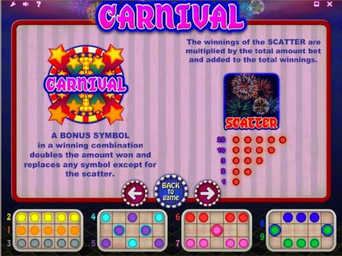 Carnival Review Slots bonus and scatter paytable