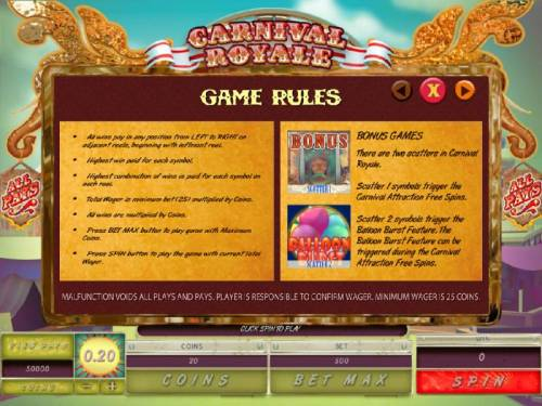 Carnival Royale Review Slots Game Rules - All wins pay in any position from left to right on adjacent reels, beginning with leftmost reel. Highest win paid for each symbol. Highest combination of wins is paid for each symbol on each reel.