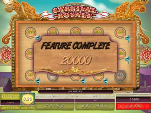 Carnival Royale Review Slots Balloon Burst Feature awards a 20,000 coin payout.