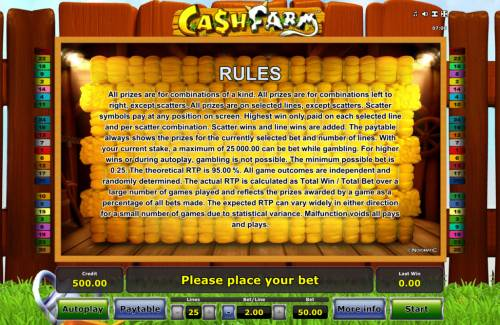 Cash Farm Review Slots General Game Rules