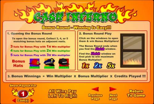 Cash Inferno Review Slots bonus round play and rules
