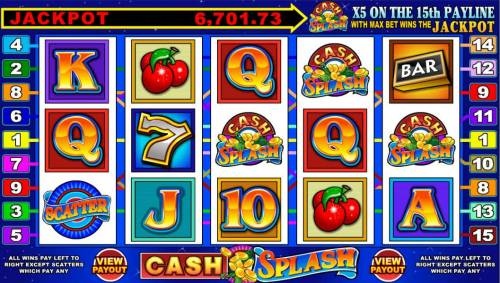 Cash Splash 5 Reel Review Slots main game board featuring five reels, 15 paylines and a progressive jackpot