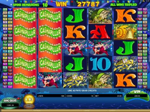 Cashapillar Review Slots Expanding Wilds on reels 1 ans 2 triggers multiple winning paylines and a super big win.