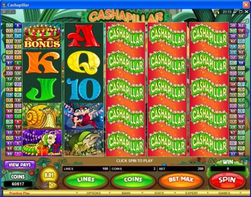 Cashapillar Review Slots Main game board featuring five reels and 20 paylines with a 15,000x max payout