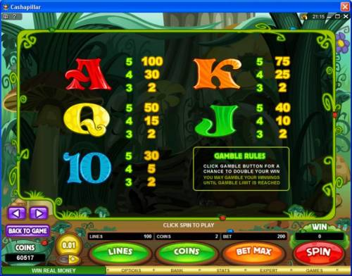 Cashapillar Review Slots Low value game symbols paytable